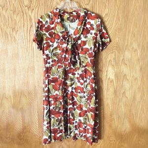 Vintage day dress, fall leaves pattern, tie neck